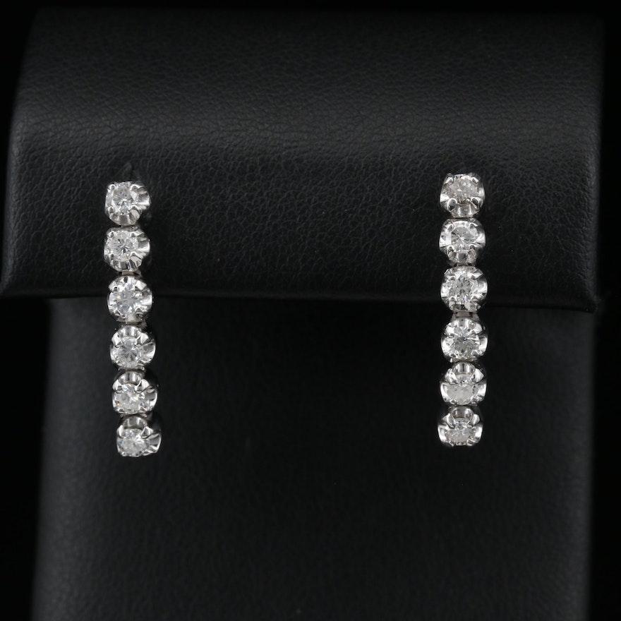 14K Diamond Illusion Set Drop Earrings