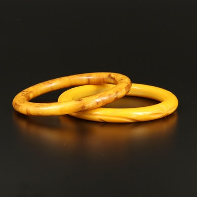 Carved Custard and Marbled Butterscotch Bakelite Bangles