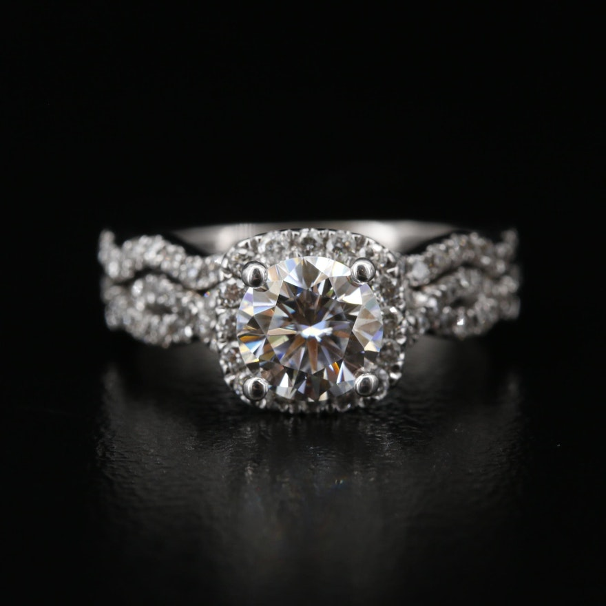 18K Moissanite and Diamond Twisted Shoulder Halo Ring