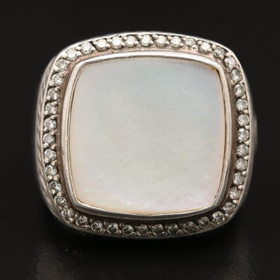 David Yurman Sterling Silver Mother of Pearl Ring with Diamond Accents