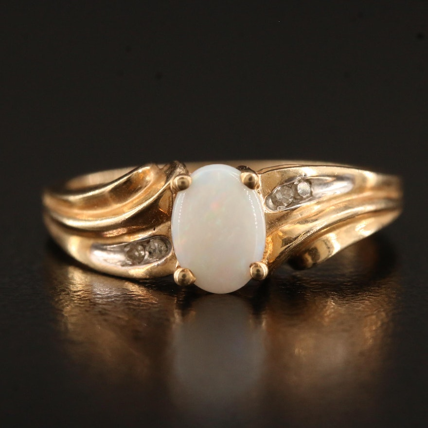 10K Opal Ring with Diamond Accents