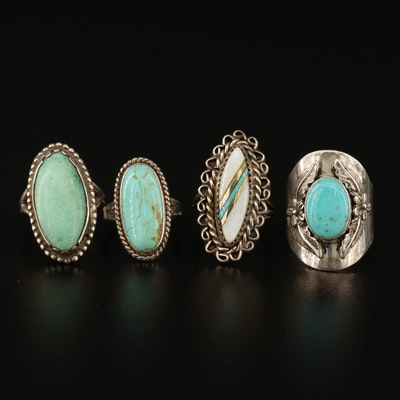 Assorted Southwest Style Sterling and 900 Silver Rings