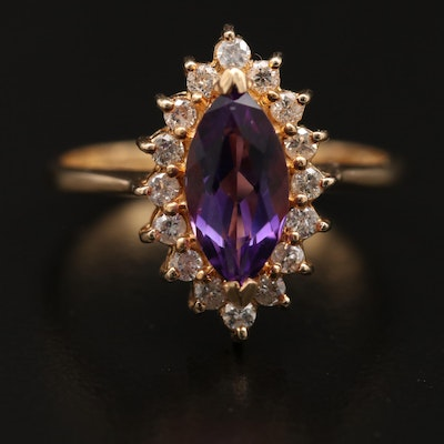 14K Amethyst and Diamond Navette Ring