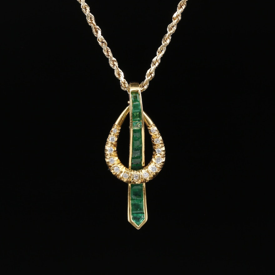 18K Emerald and Diamond Pendant on 14K Rope Chain Necklace