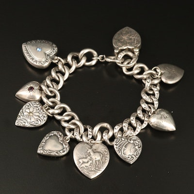 Vintage Sterling Puff Heart Charm Bracelet with Glass Accents