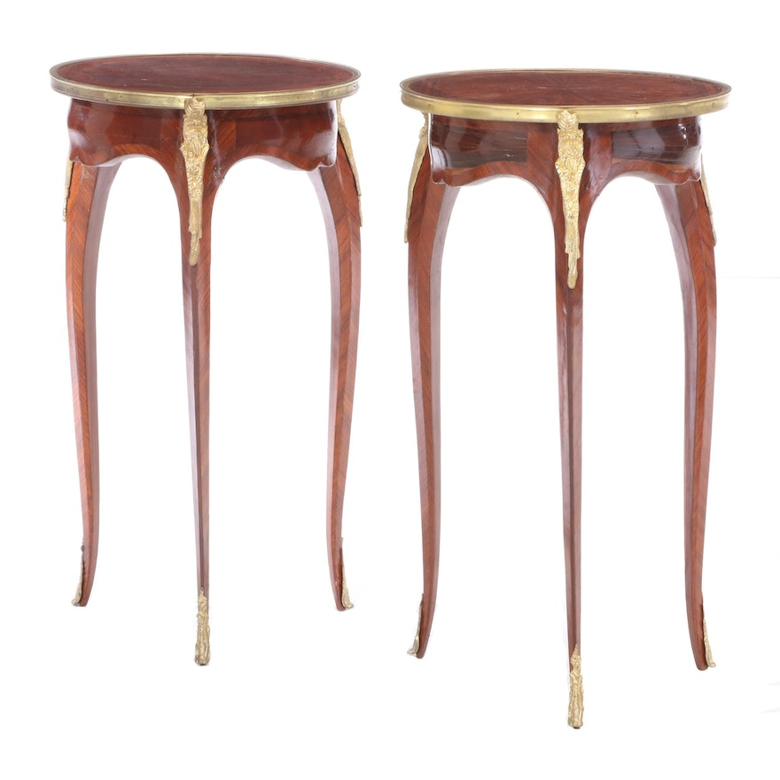 Two Louis XV Style Gilt Metal-Mounted Kingwood Side Tables, 20th Century