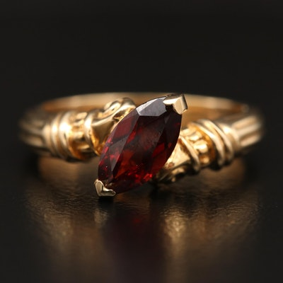 14K Garnet Bypass Ring
