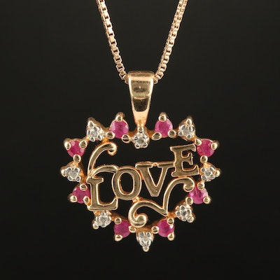 "Sterling Ruby and Diamond ""Love"" Heart Pendant Necklace"