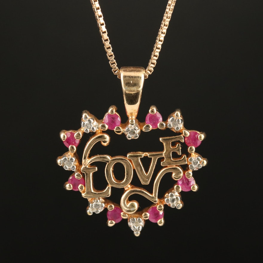 """Sterling Ruby and Diamond """"Love"""" Heart Pendant Necklace"""