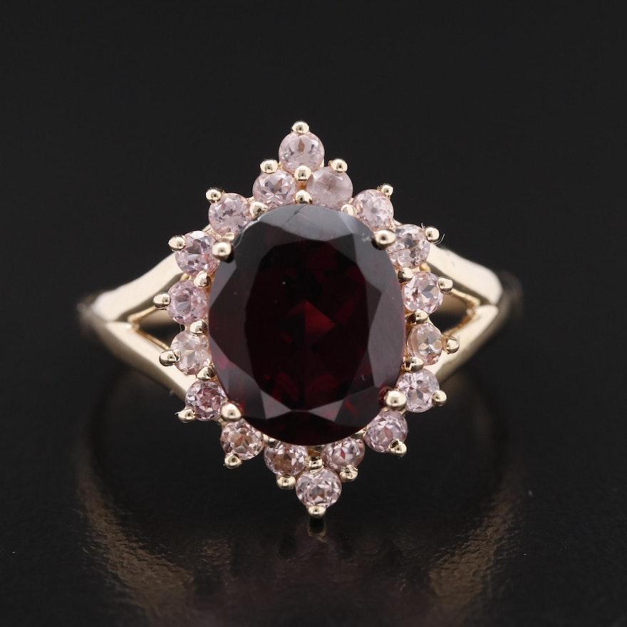 14K Garnet and Morganite Ring
