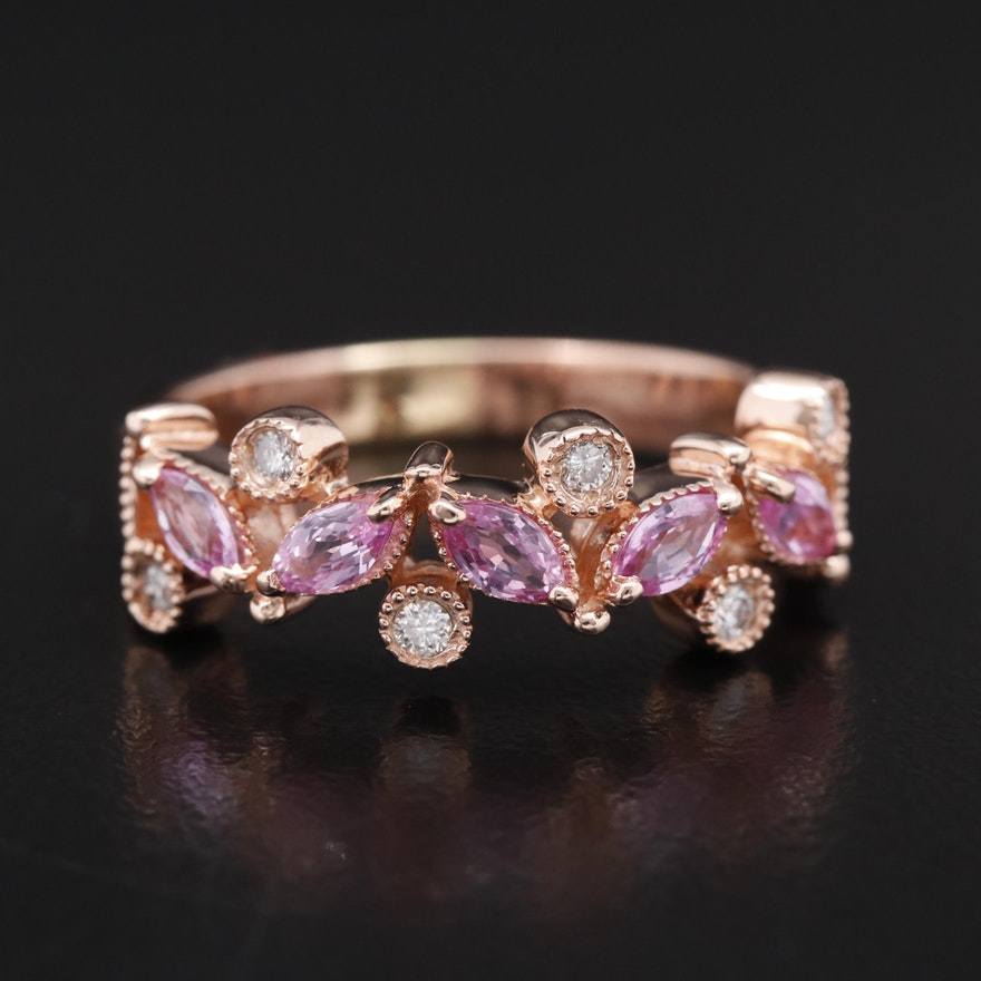 14K Rose Gold Sapphire and Diamond Band with Milgrain Detailing