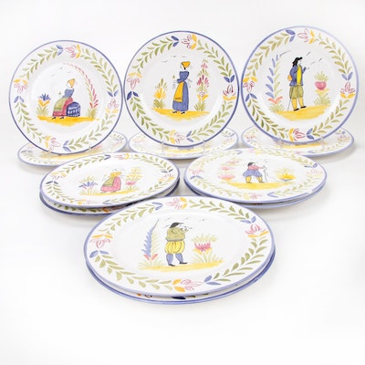 Portuguese Quimper Style Hand-Painted Faïence Plates