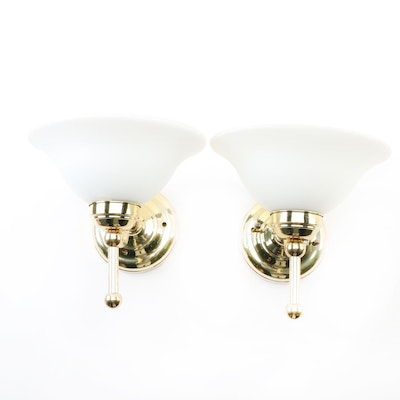 Contemporary Brass Wall Sconces with Frosted Glass Shades