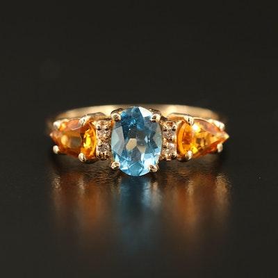 14K Topaz, Citrine and Diamond Ring
