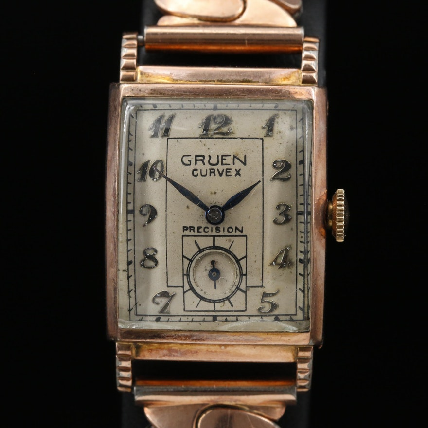 Vintage Gruen Curvex Precision 10K Gold Filled Stem Wind Wristwatch