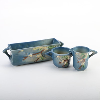 "Roseville Pottery Blue ""Snowberry"" Window Box Planter with Creamer and Sugar"
