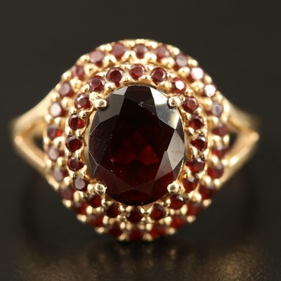 14K Garnet Double Halo Ring