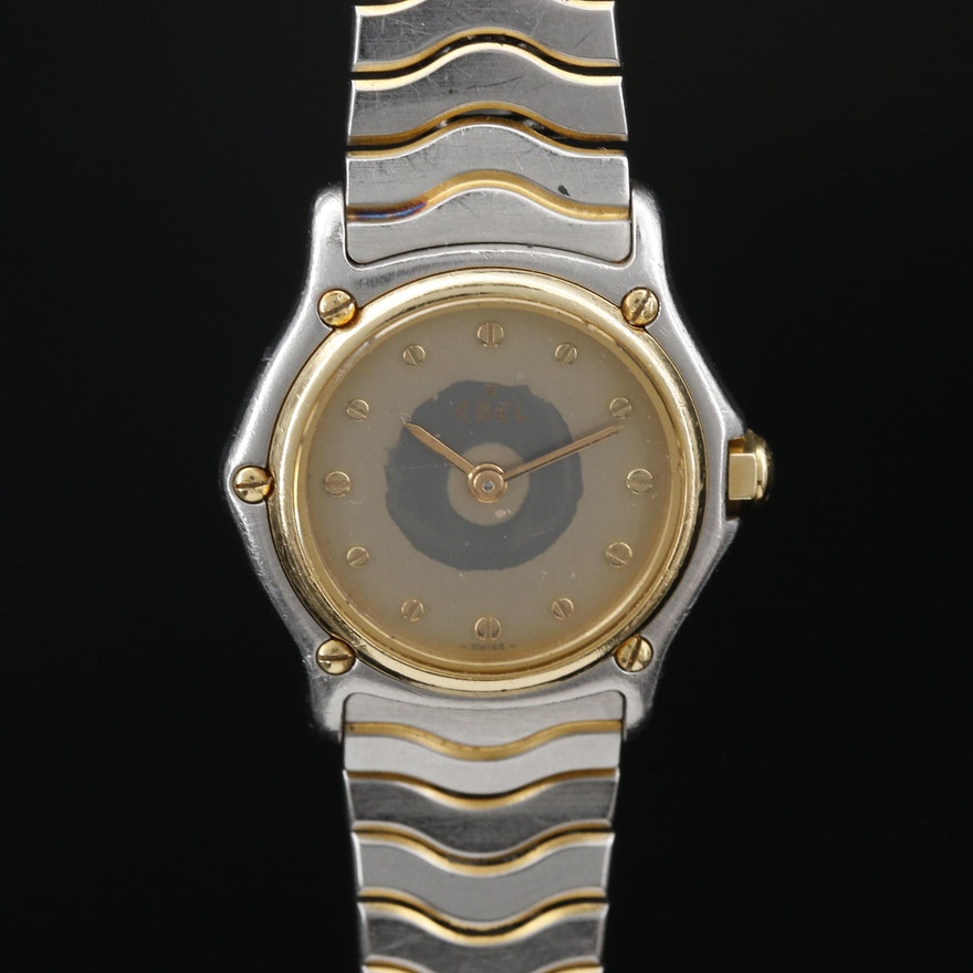 "18K Gold and Stainless Steel Ebel ""Classic Wave"" Quartz Wristwatch"
