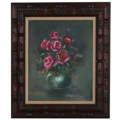 Jose Luis Campuzano Floral Still Life Oil Painting, Mid to Late 20th Century
