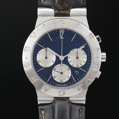 Bvlgari Diagono Chronograph Stainless Steel Meca Quartz Wristwatch