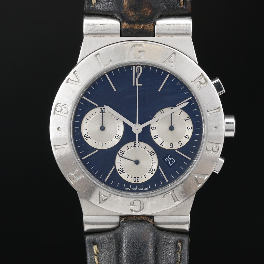Bvlgari Diagono Chronograph Stainless Steel Meca Quartz Wristwatch