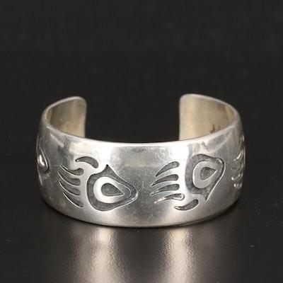 Verden Mansfield Hopi Bear Paw Overlay Sterling Silver Cuff
