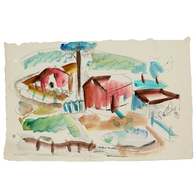 Helen Malta Ink and Watercolor Drawing of a Farm Scene, Mid to Late 20th Century