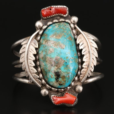 Southwestern Style Sterling Silver Turquoise and Coral Cuff with Feather Motif
