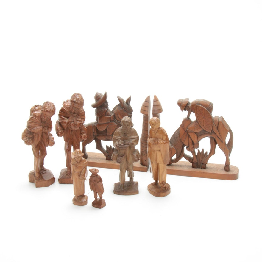 Spanish Hand-Carved Folk Art Bookends and Figurines