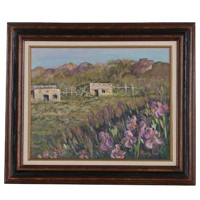 "Mary Ann Mathews Western Acrylic Painting ""Iris Splendot at Dona Ana"", 1991"