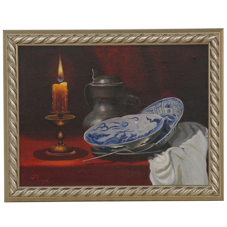 "Still Life Oil Painting ""By Candle Light"", Late 20th Century"