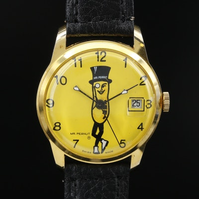 Swiss Mr. Peanut Stem Wind Wristwatch