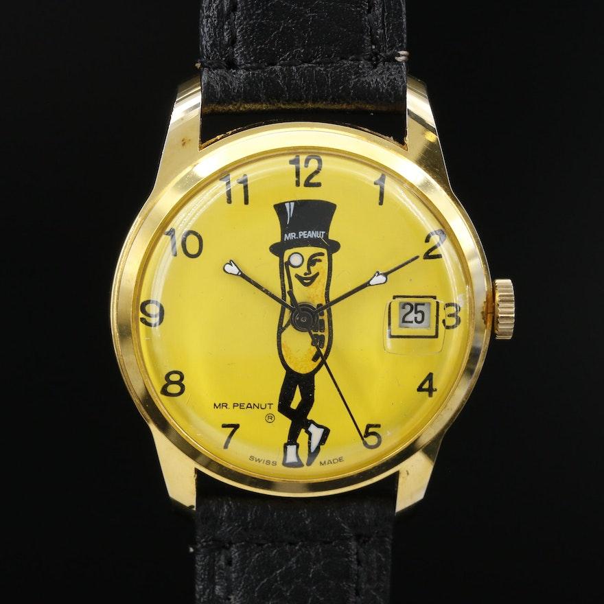 Swiss Mr. Peanut Stem Wind Wristwatch