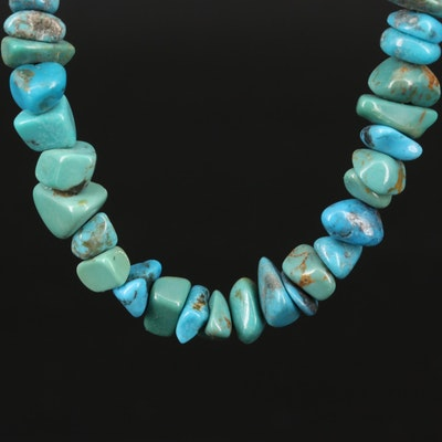 Relios Turquoise Necklace with Sterling Silver Ends and Clasp