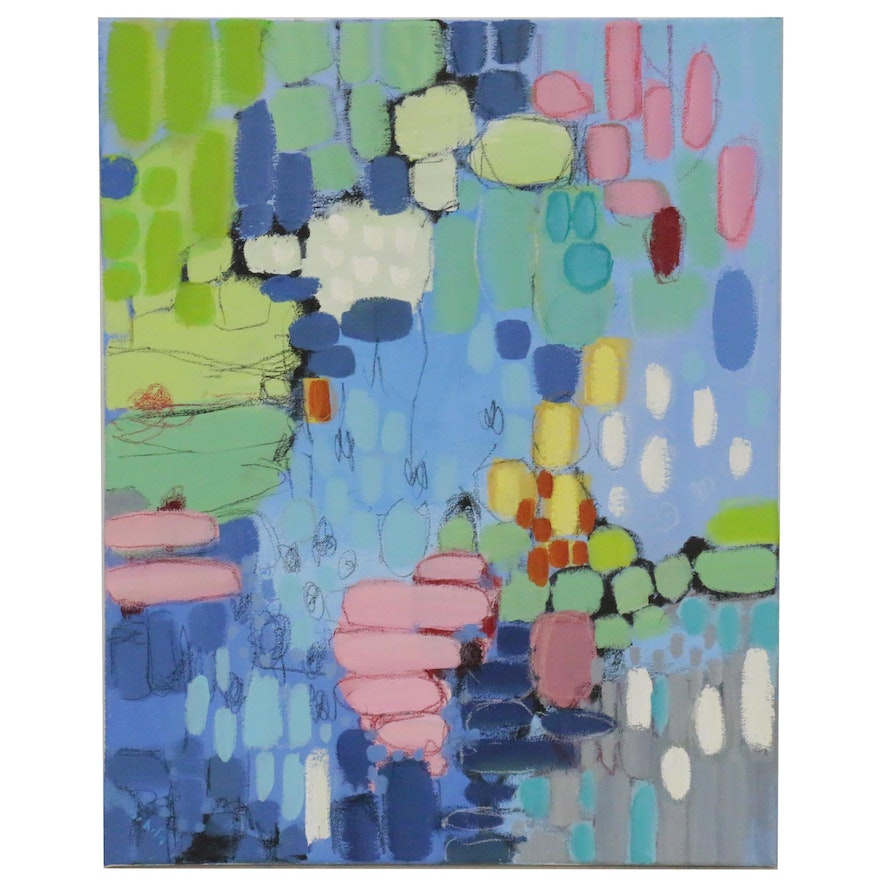 Lee Hafer Abstract Mixed Media Acrylic Painting, 21st Century