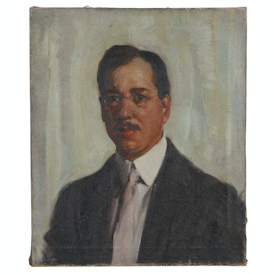 John Ellsworth Weis Self-Portrait Oil Painting, Early to Mid 20th Century