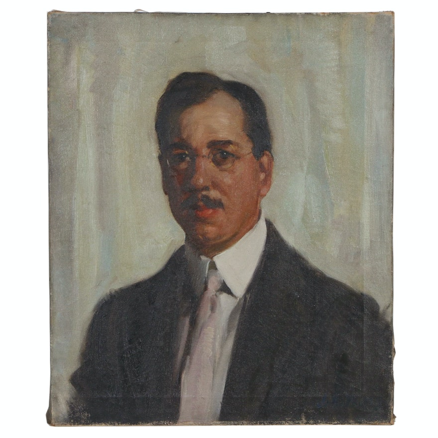 John Ellsworth Weis Portrait Oil Painting, Early to Mid 20th Century
