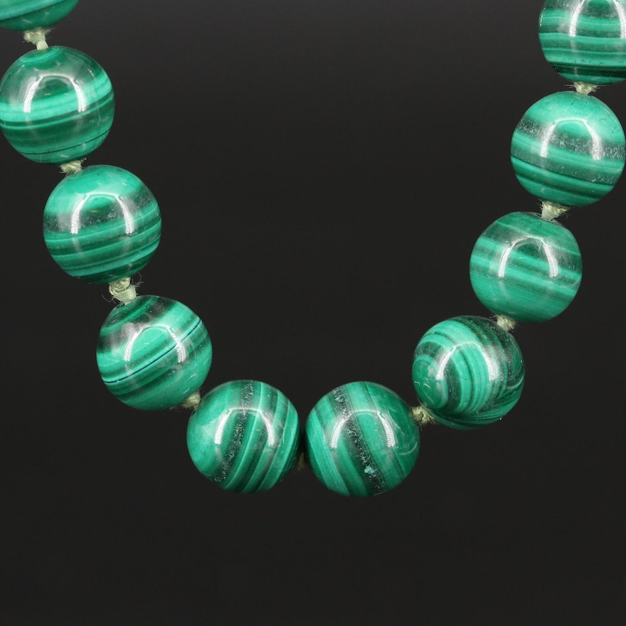 Knotted Endless Beaded Malachite Necklace