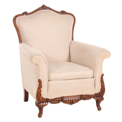 Damask Brocade Upholstered Carved Hardwood Armchair, 20th Century