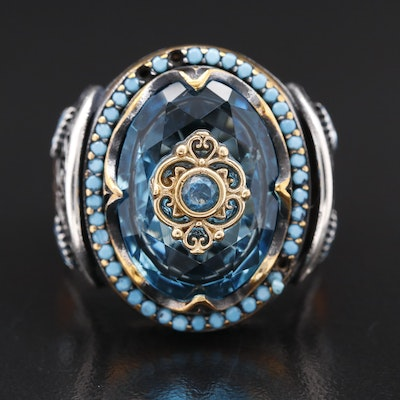 Sterling Silver Cubic Zirconia Ring with Scrollwork Detail