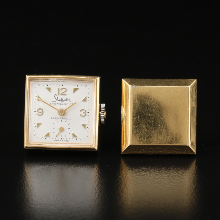 Vintage Sheffield Gold Tone Cuff Link Watch