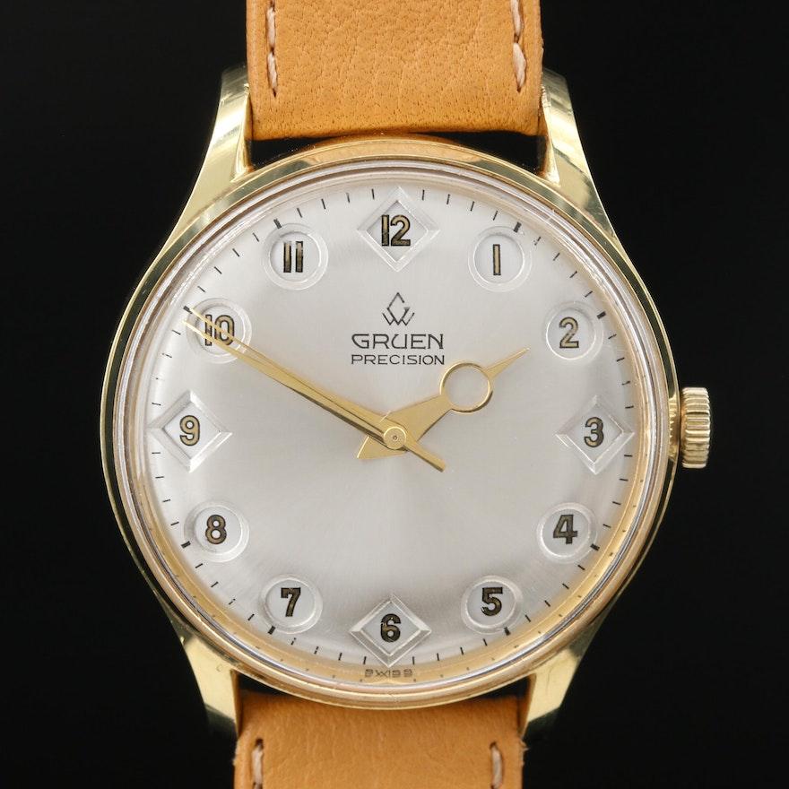 """Vintage Gruen """"Airflight 24 Hour"""" Gold Plated Stem Wind Wristwatch"""