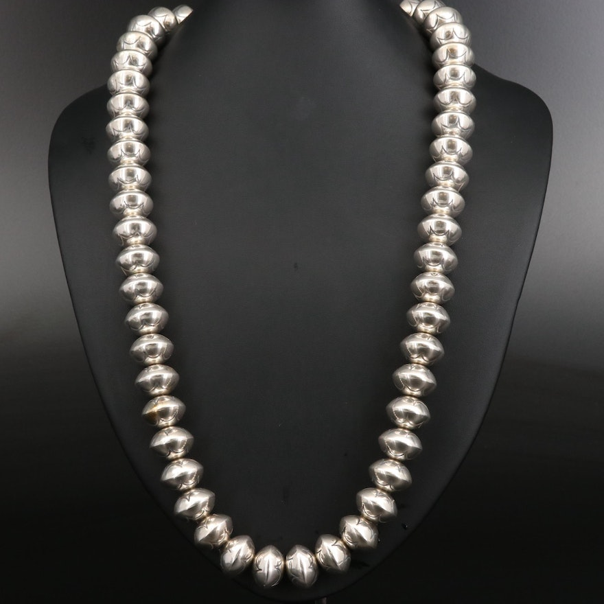 Southwestern Sterling Silver Stamped Navajo Pearls Necklace