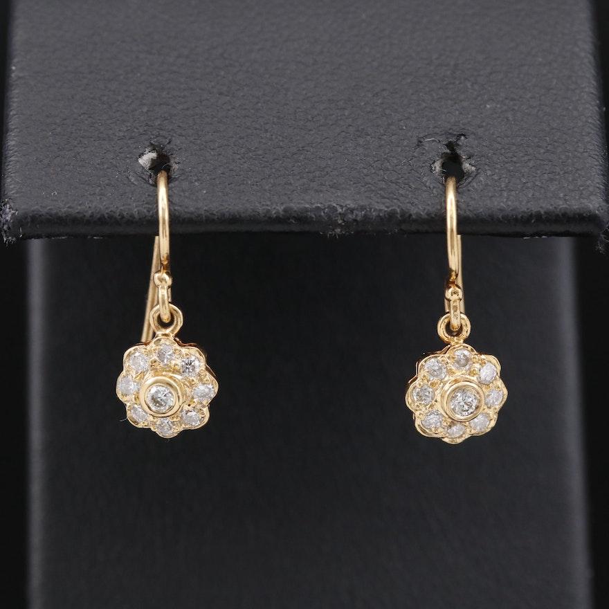 18K Diamond Dangle Earrings