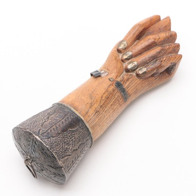 Wood Figa Hand Pendant with 850 Silver Base and Bracelet