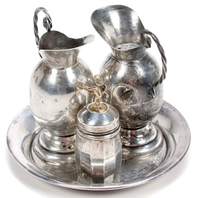 Mexican Sterling Silver Shakers with Other Shaker and Sandwich Plate