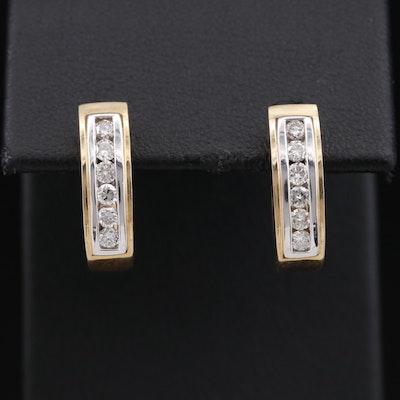 14K Diamond Channel Set Huggie Earrings