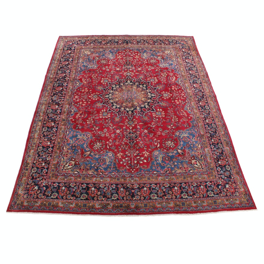 9'11 x 13'2 Hand-Knotted Persian Mashad Rug, 1970s