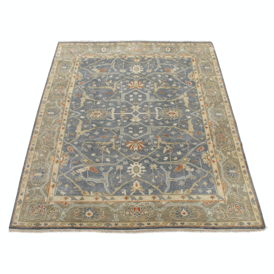8'1 x 10'2 Hand-Knotted Indo Turkish Oushak Rug, 2010s