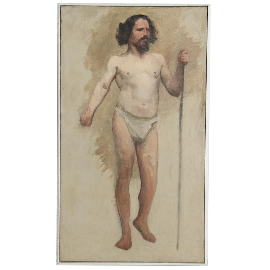 Male Nude Oil Painting Study, 20th Century